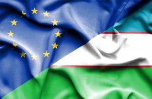 Waving flag of Uzbekistan and